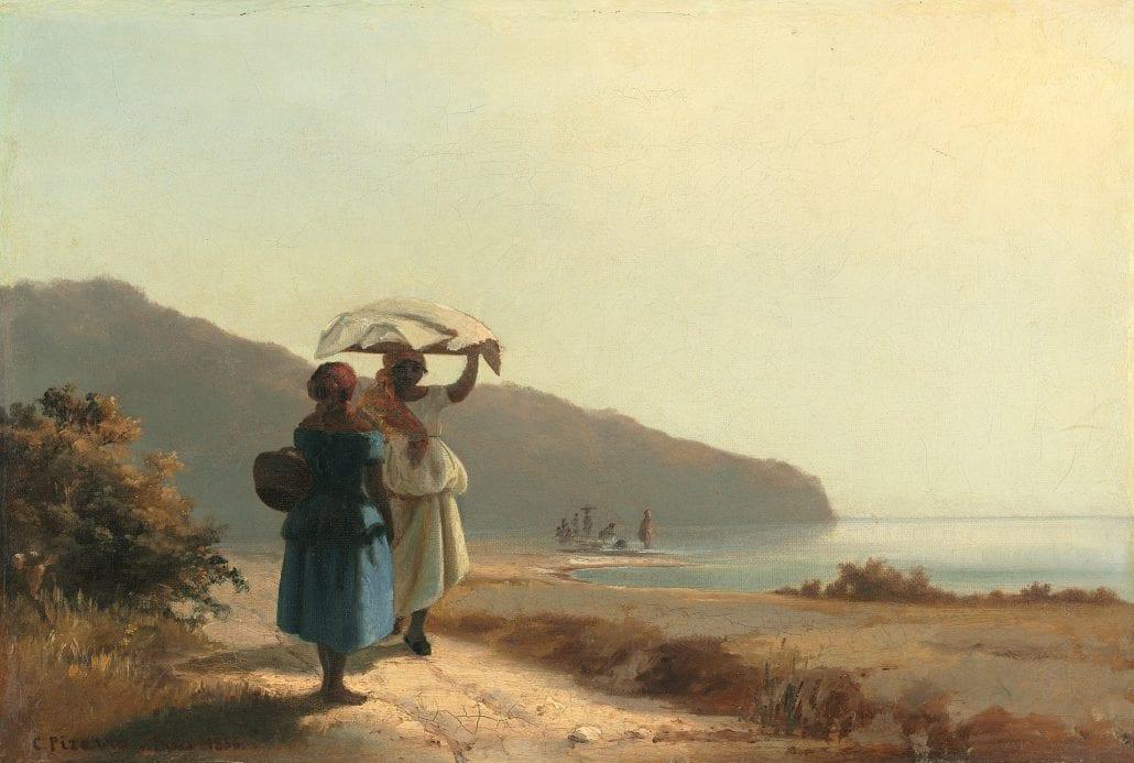 Dos mujeres conversando junto al mar, Saint Thomas, Antillas Danesas, 1856. National Gallery of Art, Washington.