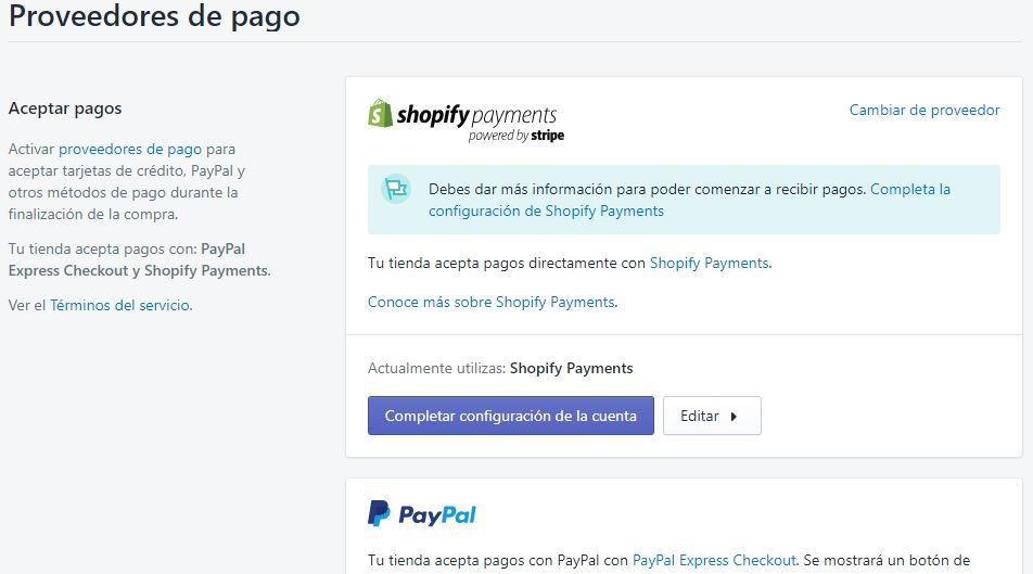Sistemas de pago en Shopify